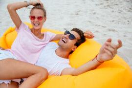 Couple smiling on raft
